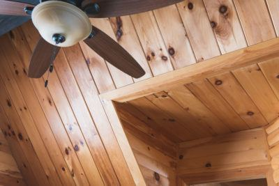 Detail of vaulted ceiling shown with pine t&g and pine log siding on the wall