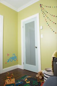Frosted french door with signature series casing and baseboard