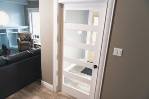 5 Panel Shaker door with clear glass with baseboard and casing